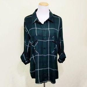 Sanctuary boyfriend shirt dark green plaid large